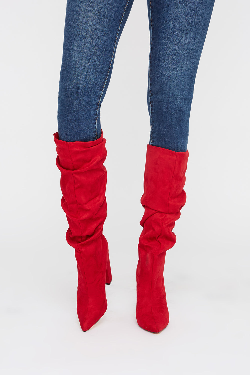 Pointed Ruched Heel Knee High Boot Red