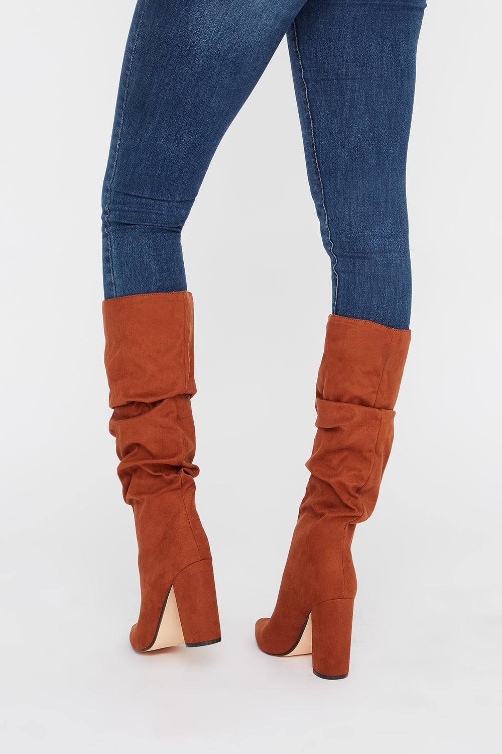 Pointed Ruched Heel Knee High Boot Rust
