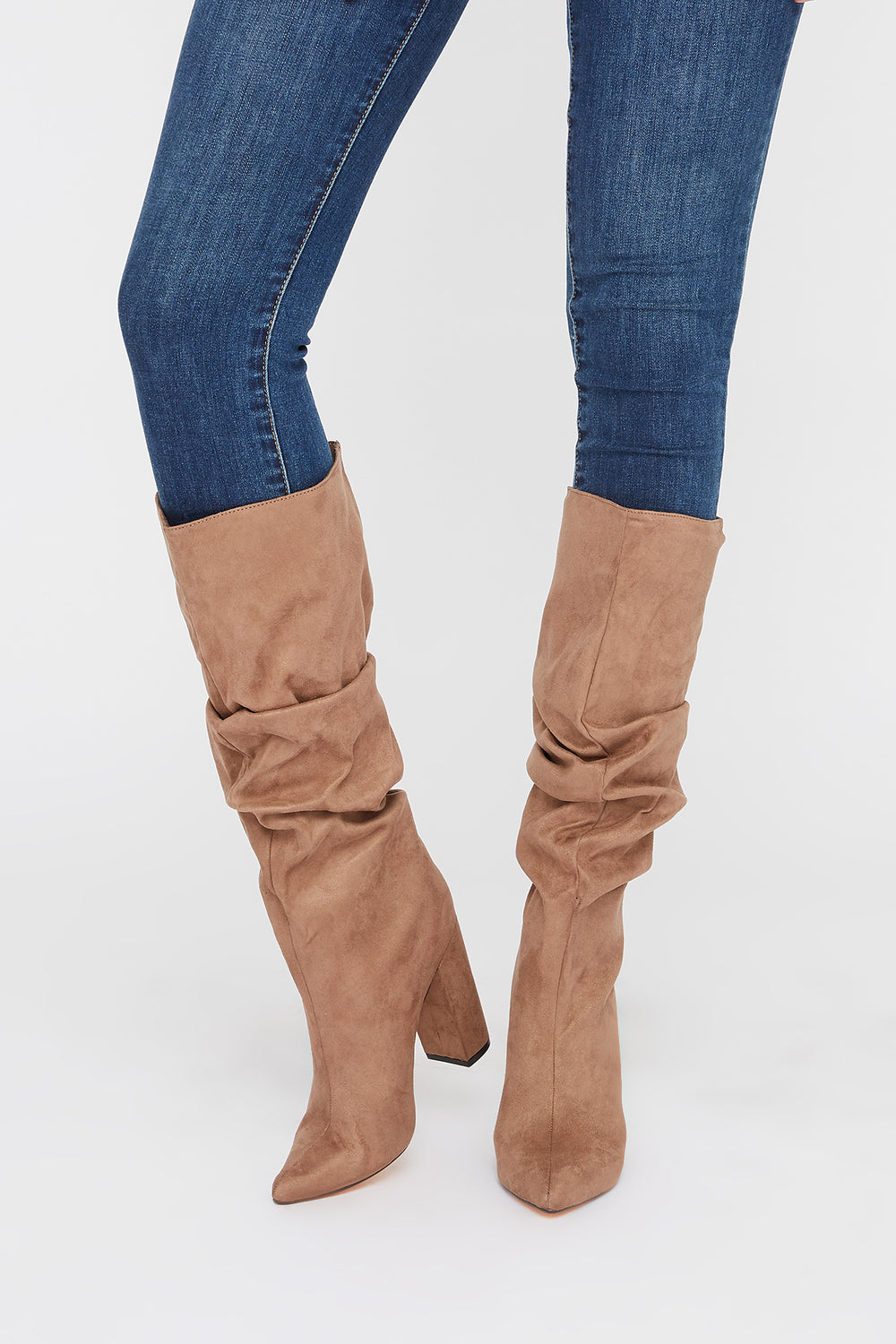 Pointed Ruched Heel Knee High Boot Taupe