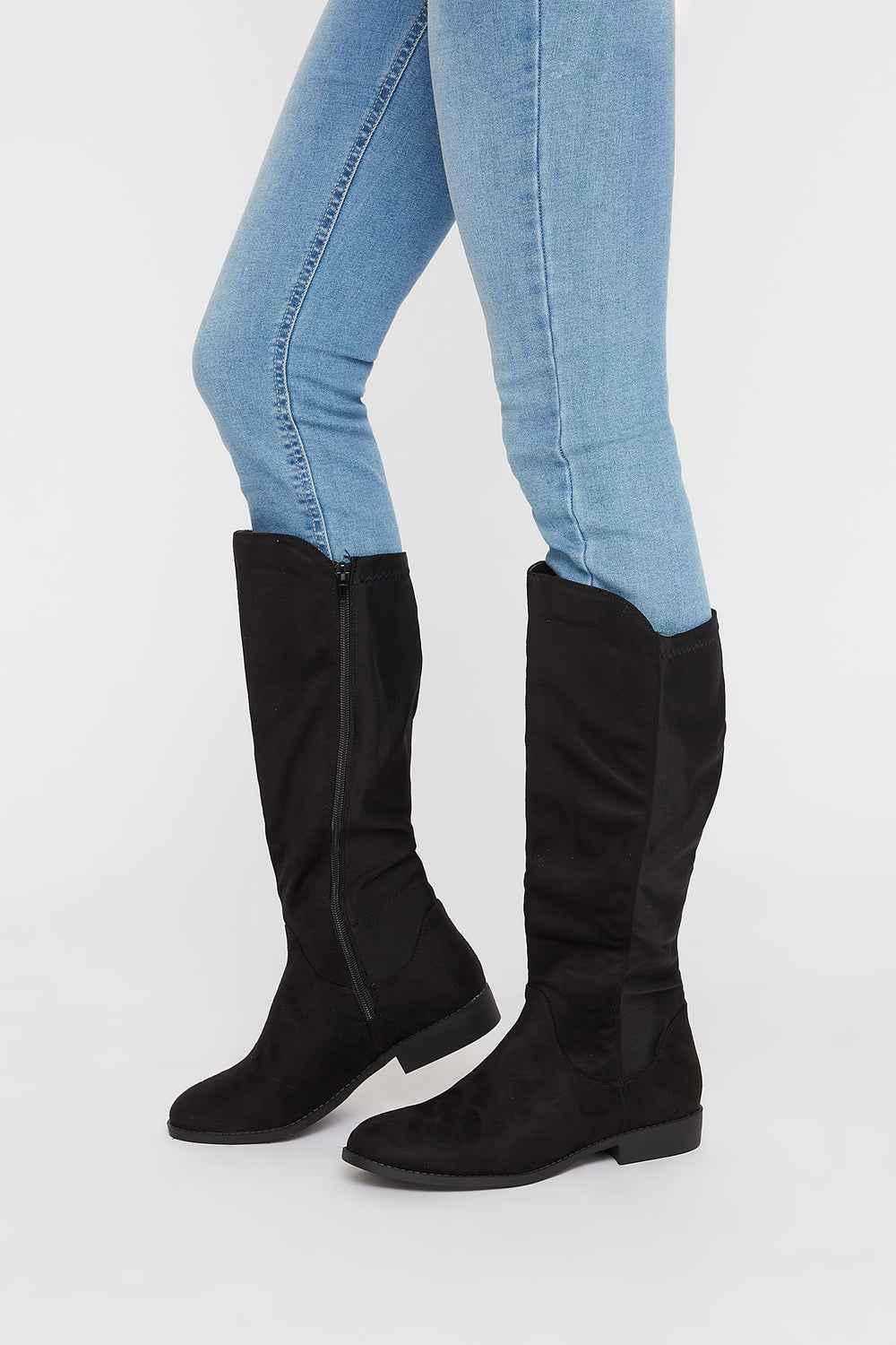Contrast Knee High Boot Black