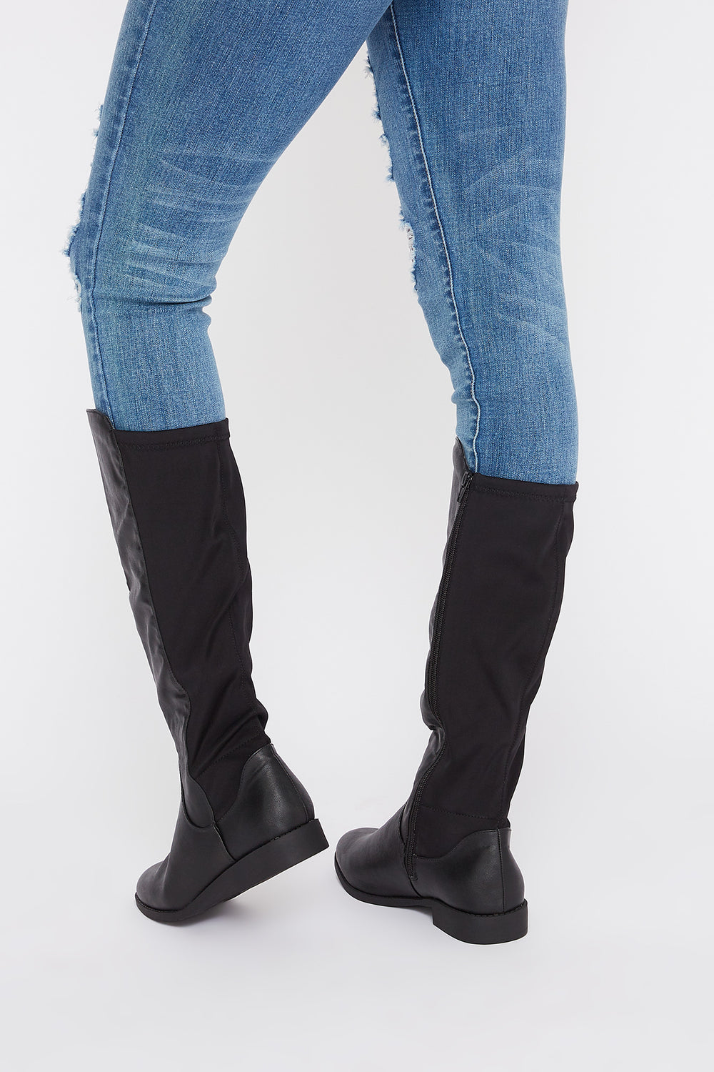 Contrast Knee High Boot Jet Black