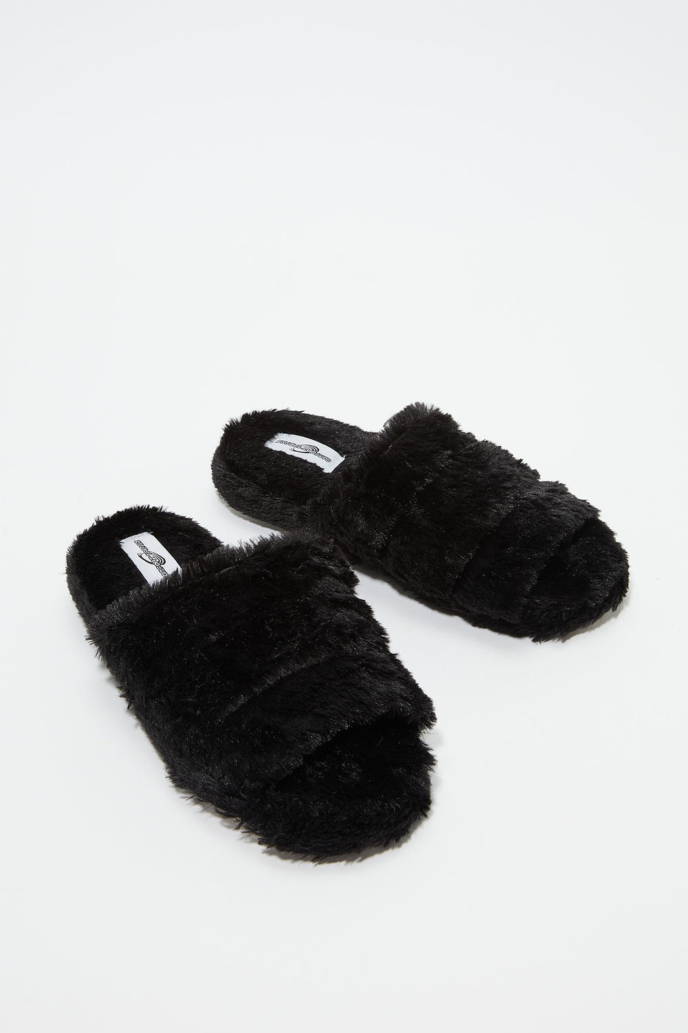 Faux Fur Platform Slide Black