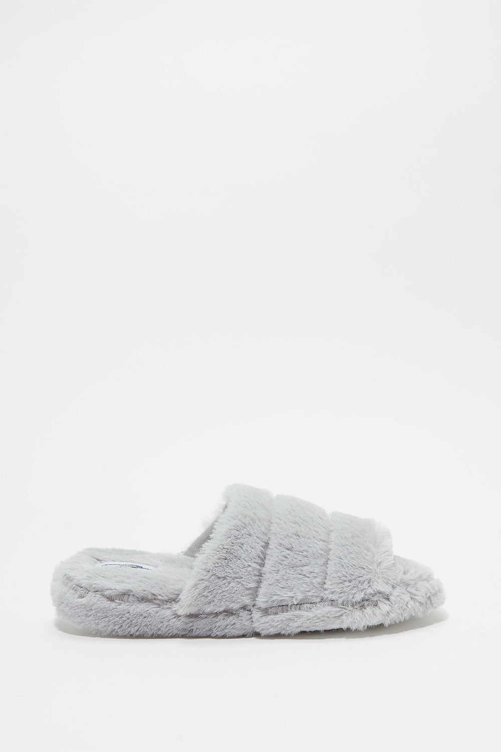 Faux Fur Platform Slide Heather Grey
