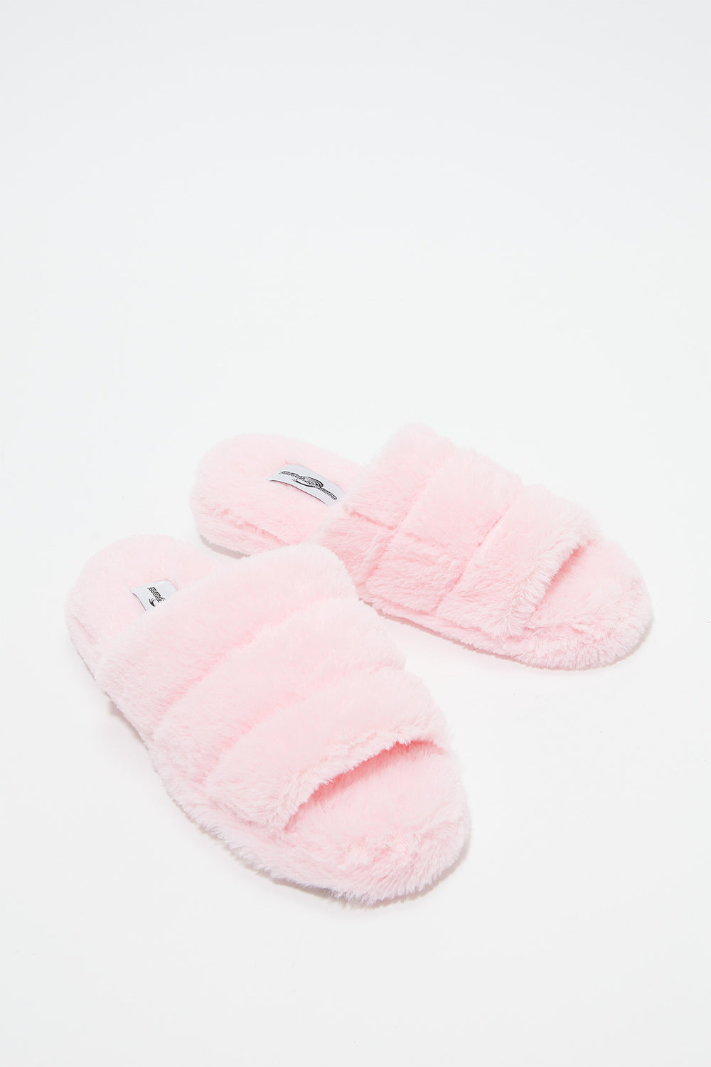 Faux Fur Platform Slide Light Pink