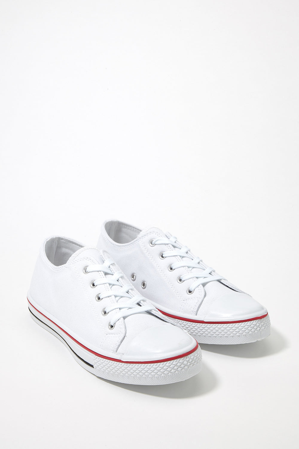 Printed Canvas Lace-Up Sneaker White