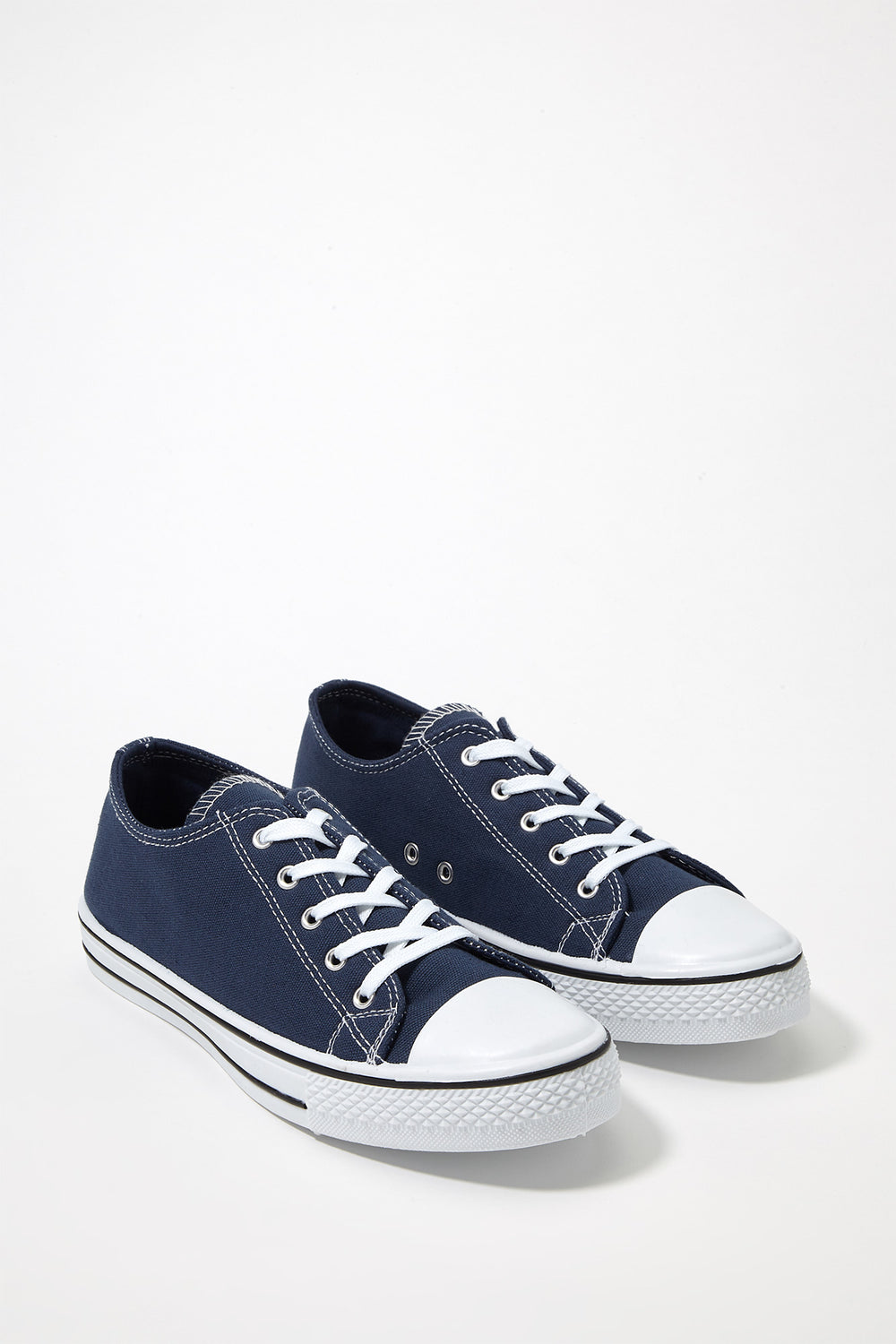 Printed Canvas Lace-Up Sneaker Navy