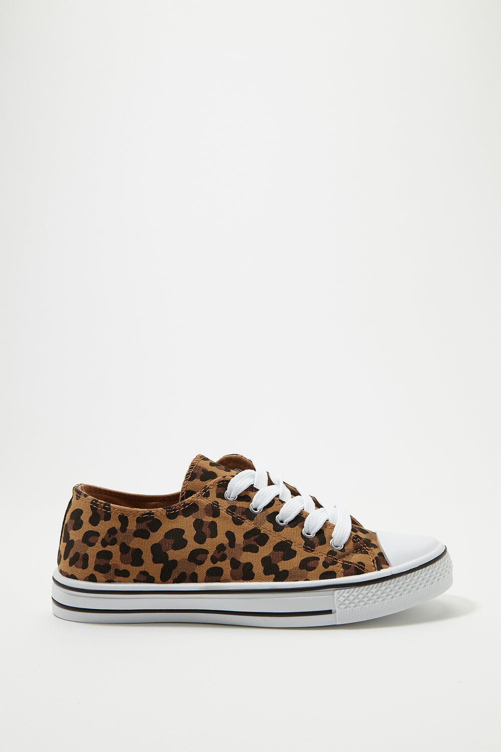 Printed Canvas Lace-Up Sneaker Leopard
