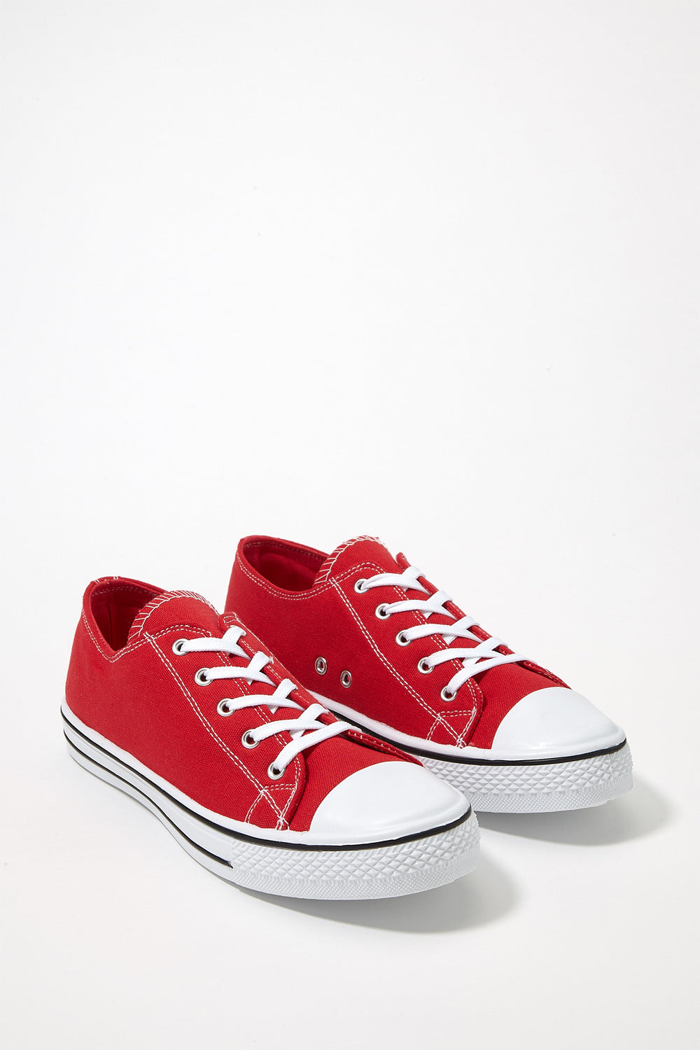 Printed Canvas Lace-Up Sneaker Red