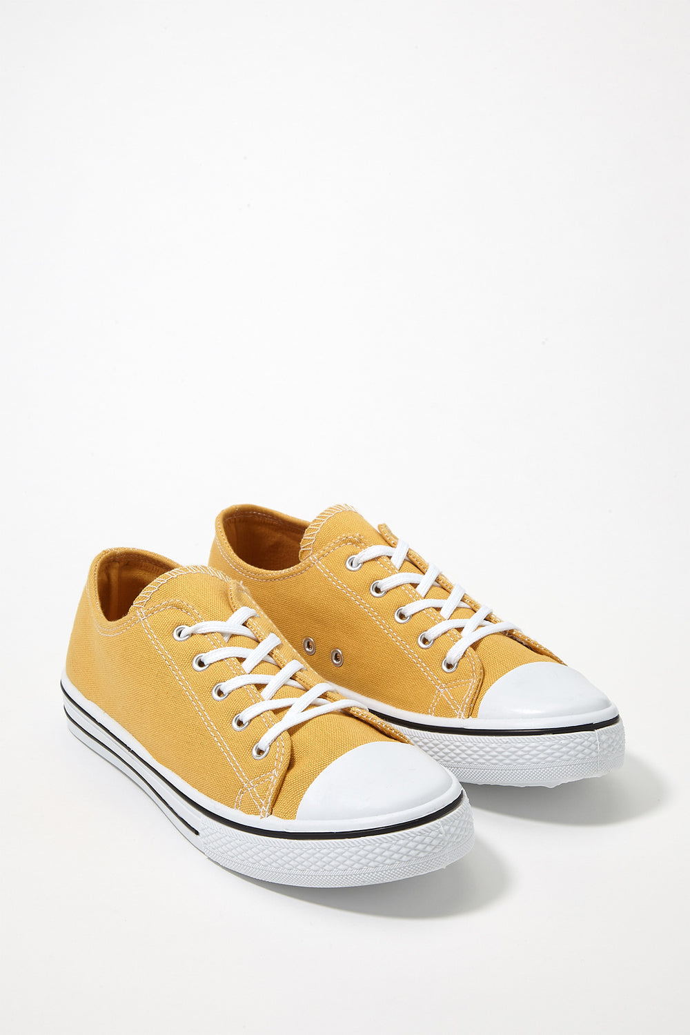 Printed Canvas Lace-Up Sneaker Mustard