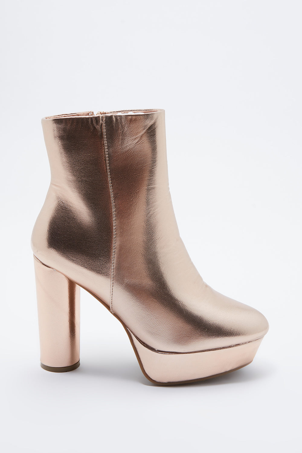 Metallic Platform Ankle Boot Bronze