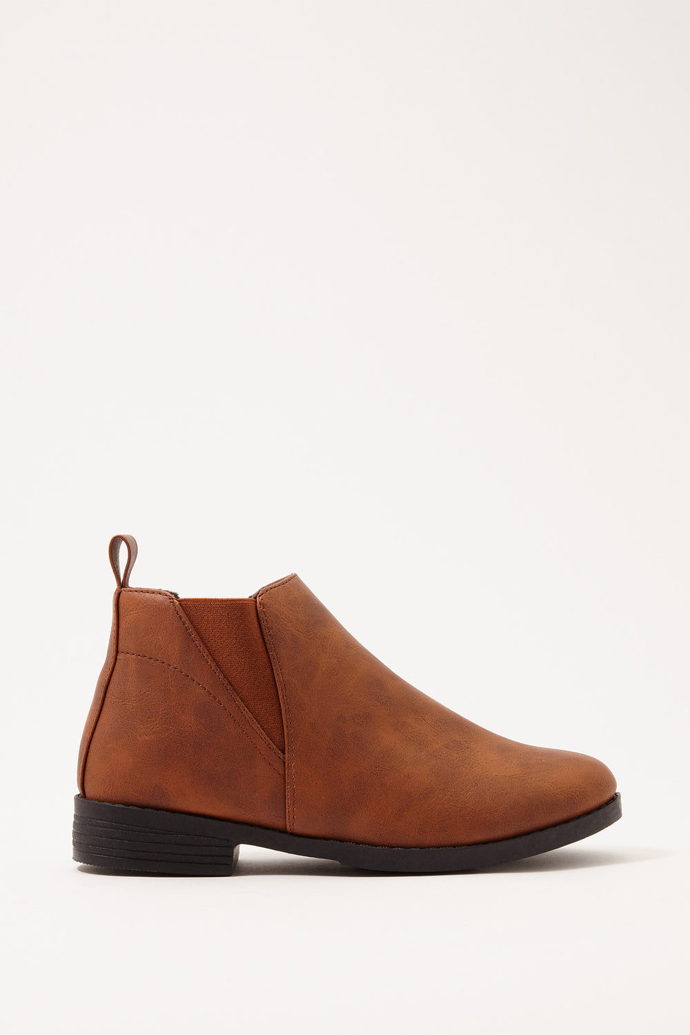 Chelsea Faux-Leather Bootie Camel