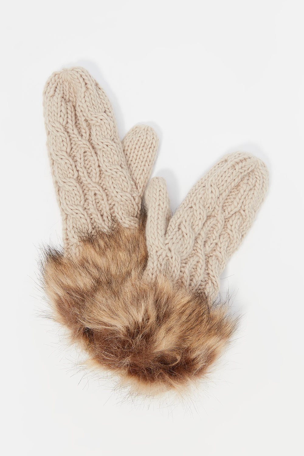 Cable Knit Faux-Fur Cuff Mitten Oatmeal