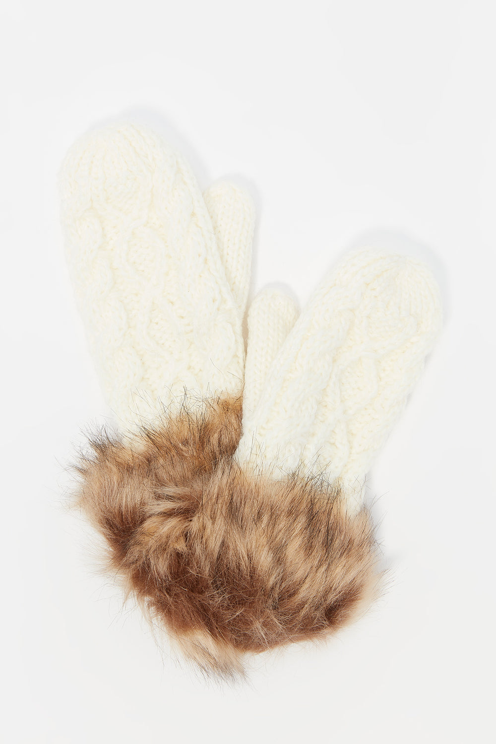 Cable Knit Faux-Fur Cuff Mitten Ivory