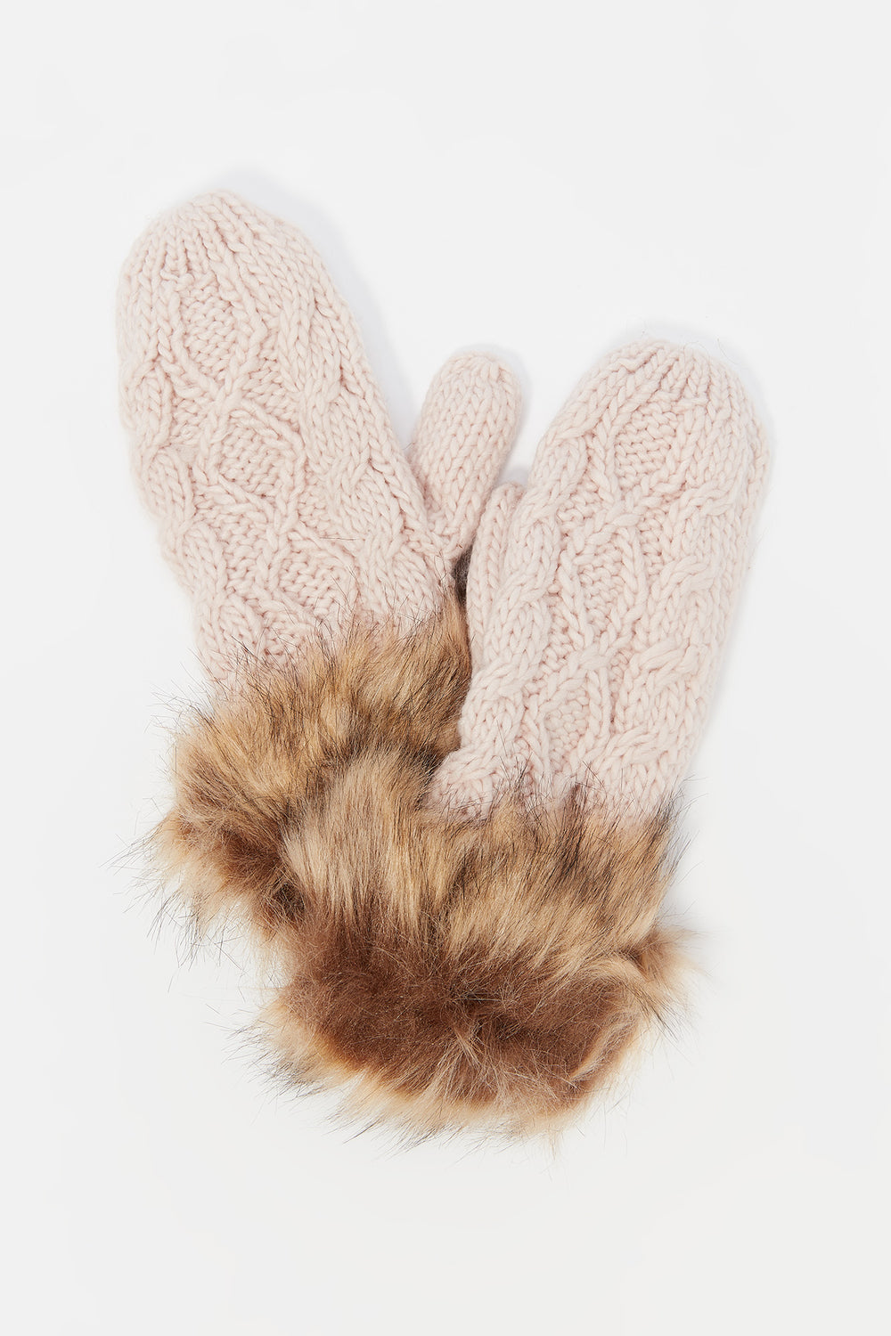 Cable Knit Faux-Fur Cuff Mitten Rose