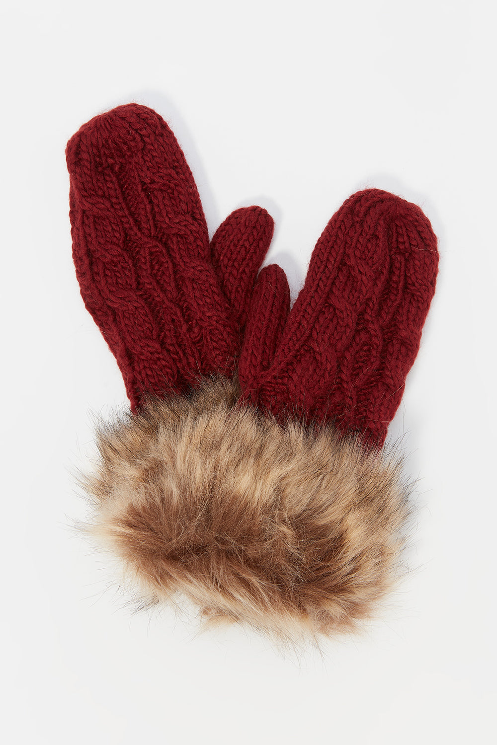 Cable Knit Faux-Fur Cuff Mitten Burgundy