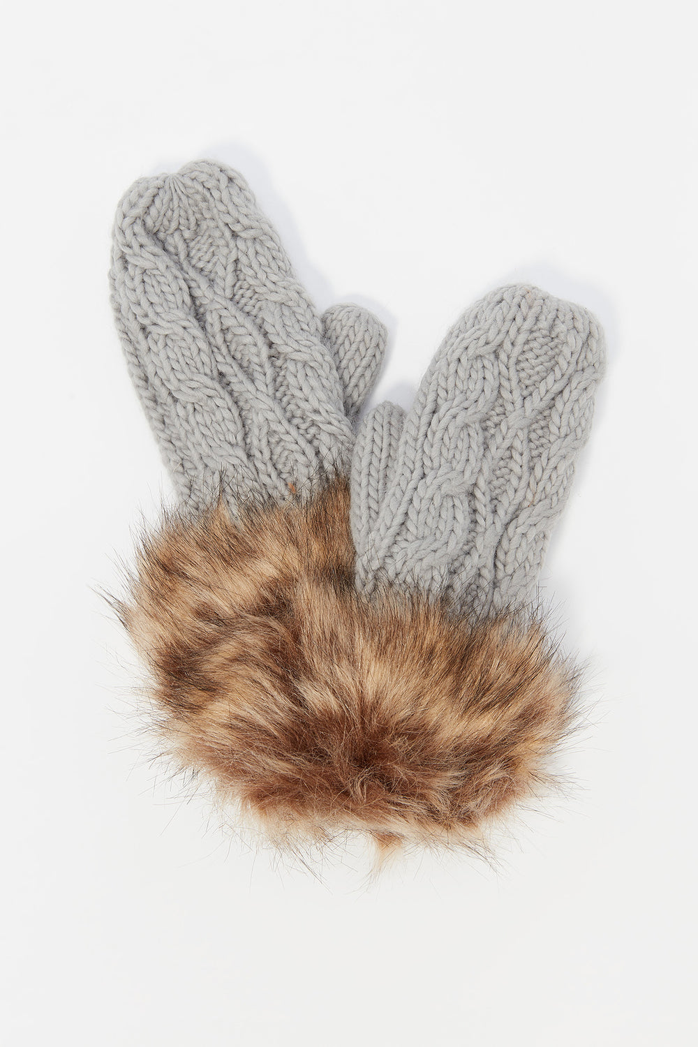 Cable Knit Faux-Fur Cuff Mitten Heather Grey