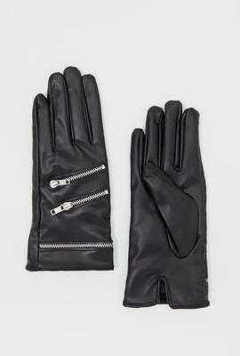 Zipper Faux-Leather Gloves