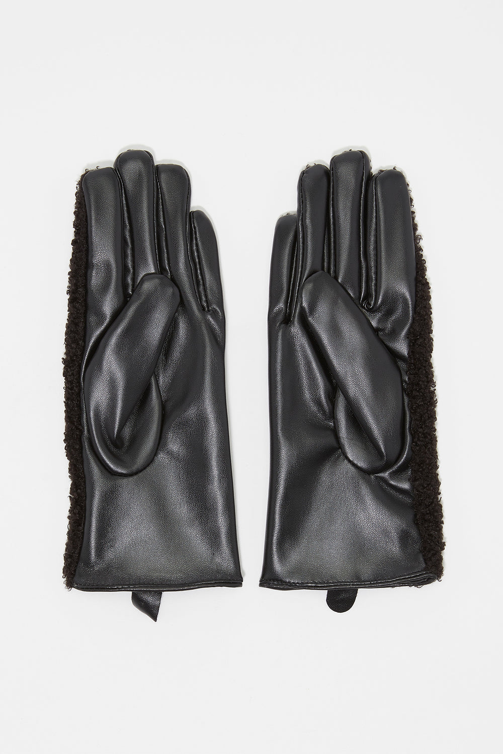 Contrast Teddy Faux-Leather Touchscreen Glove Black
