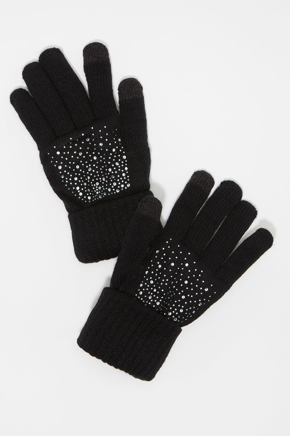 Knit Rhinestone Touchscreen Glove Black
