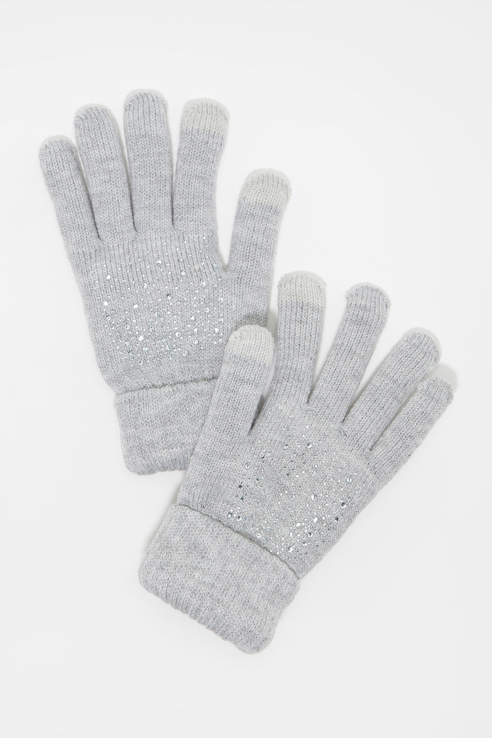 Knit Rhinestone Touchscreen Glove Heather Grey