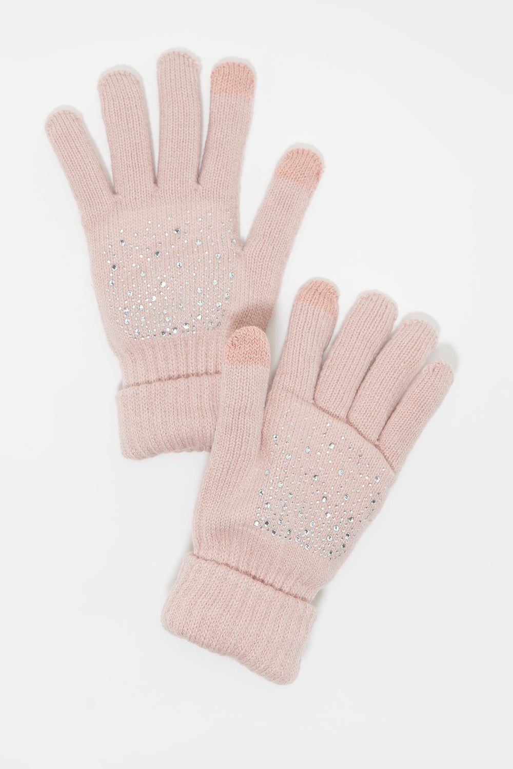 Knit Rhinestone Touchscreen Glove Rose