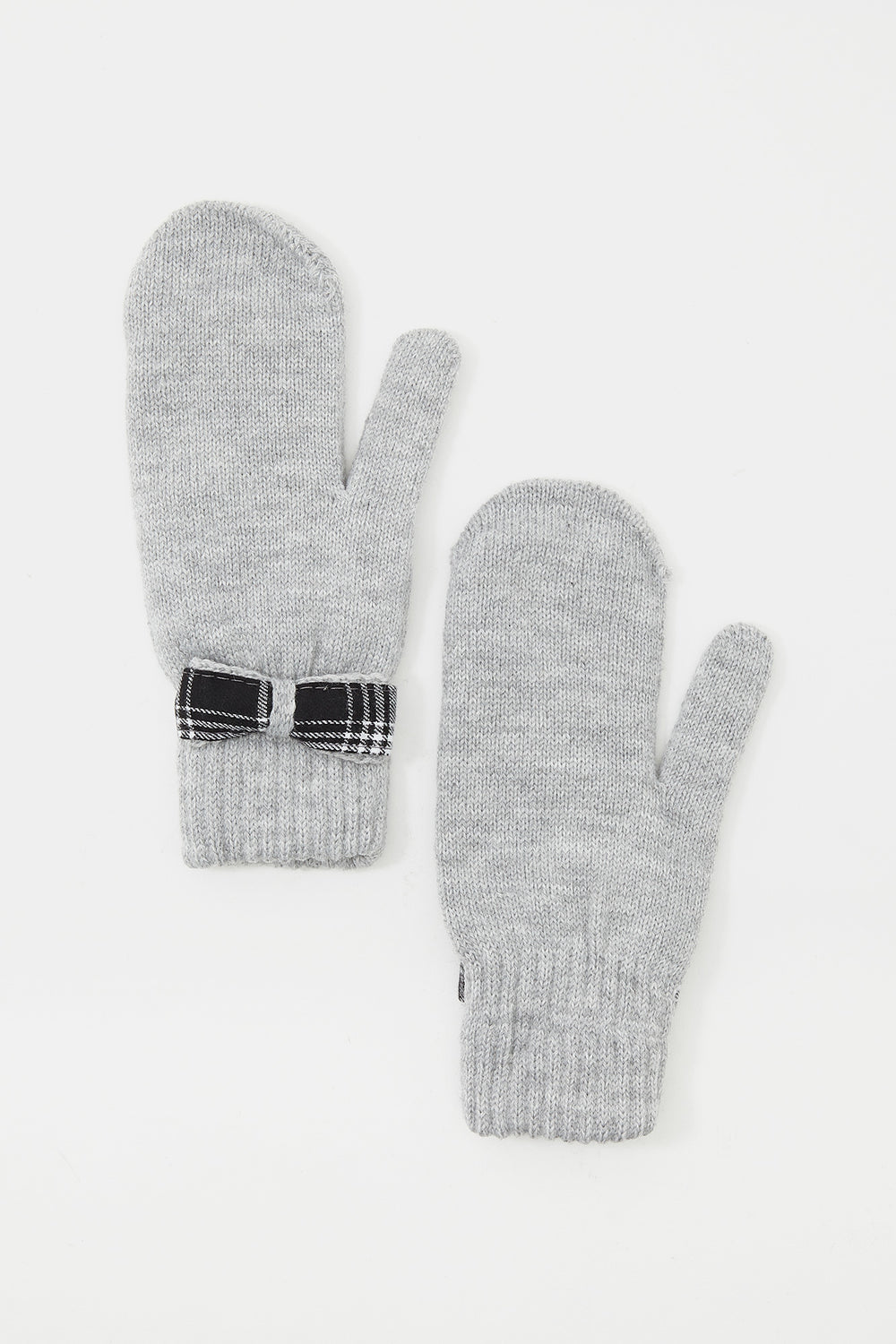 Plaid Bow Knit Mittens Heather Grey