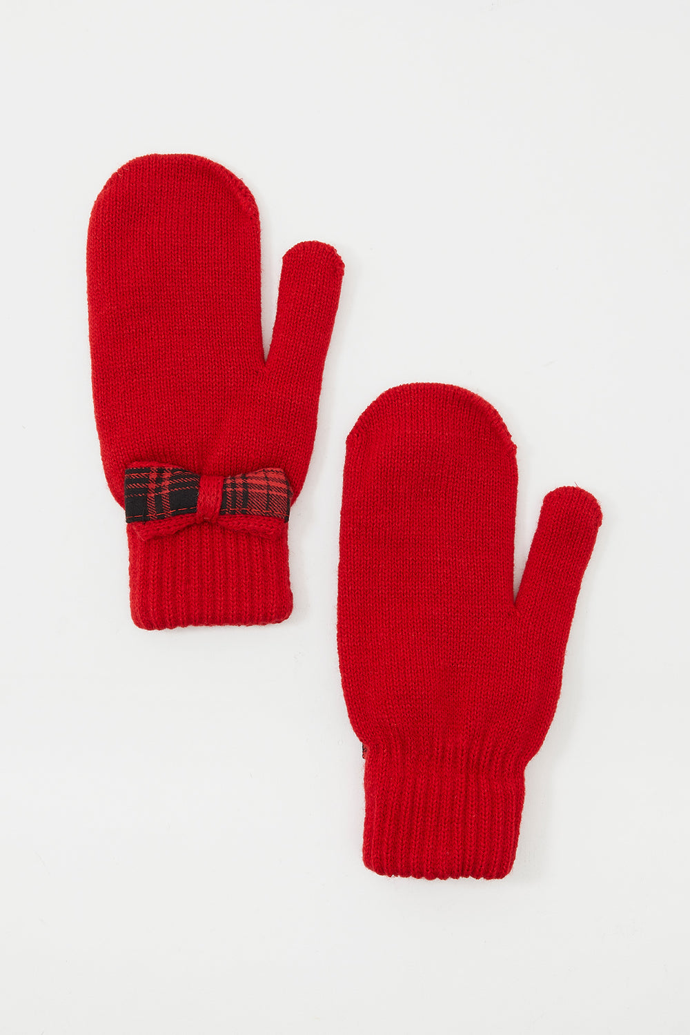 Plaid Bow Knit Mittens Red