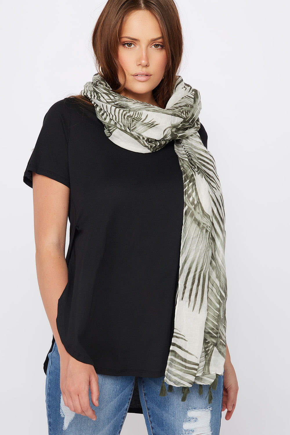 Tropical Printed Lightweight Tassel Scarf Green