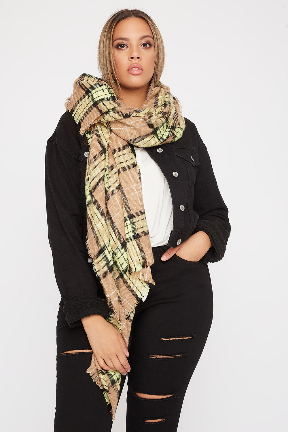 Knit Plaid Scarf Neon Green