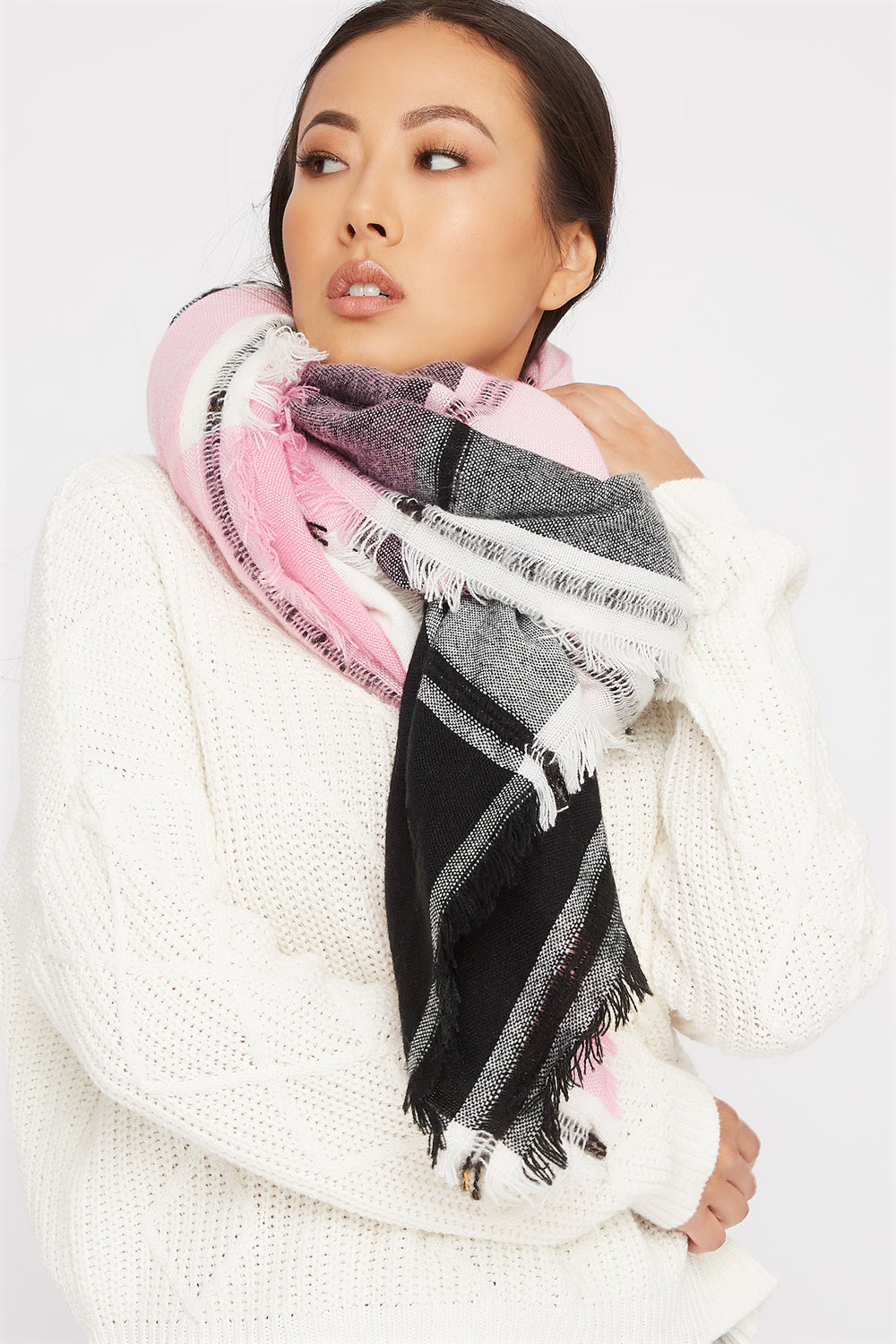 Square Plaid Scarf Neon Pink