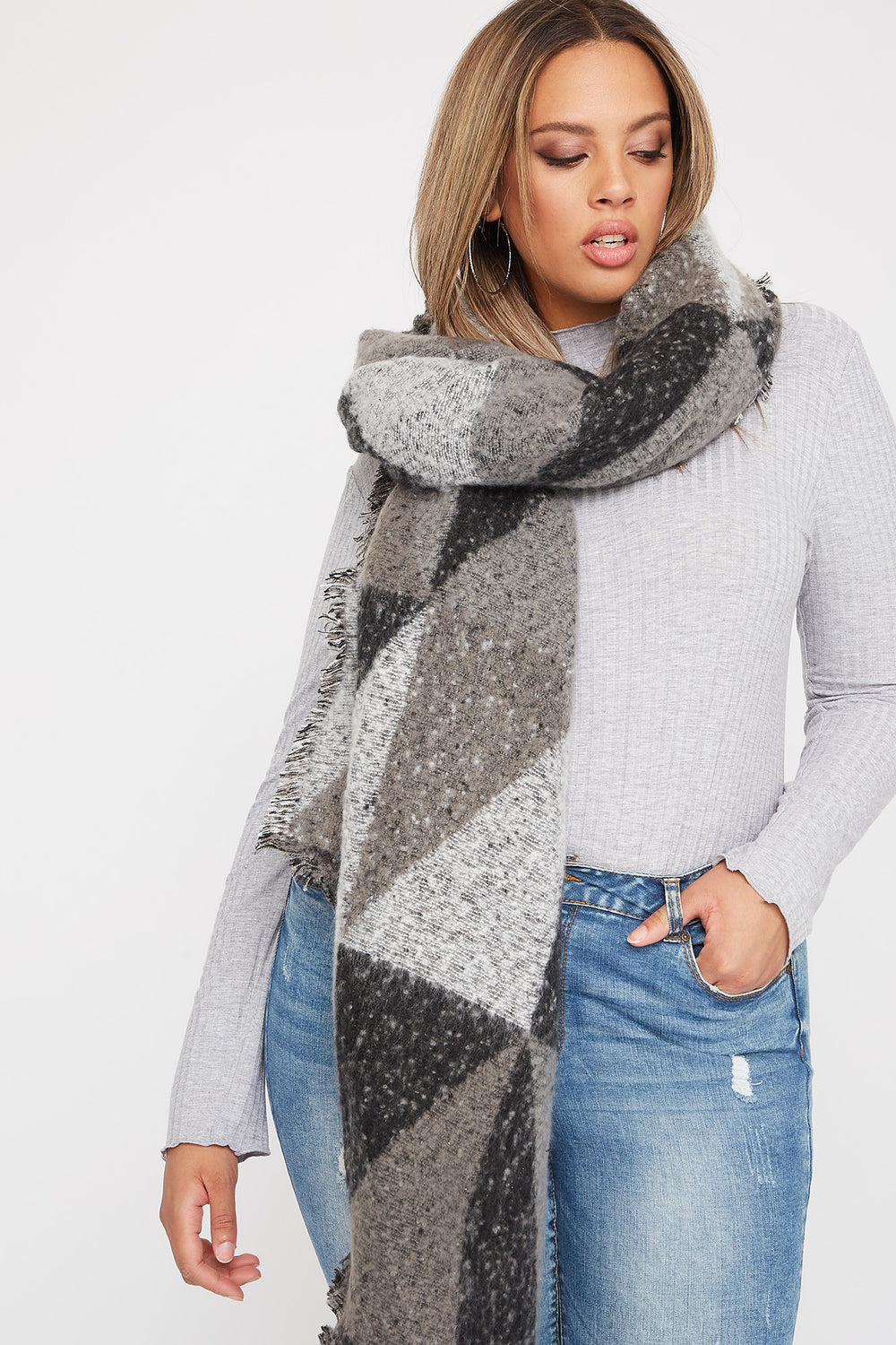 Bouclé Colour Block Scarf Black with White