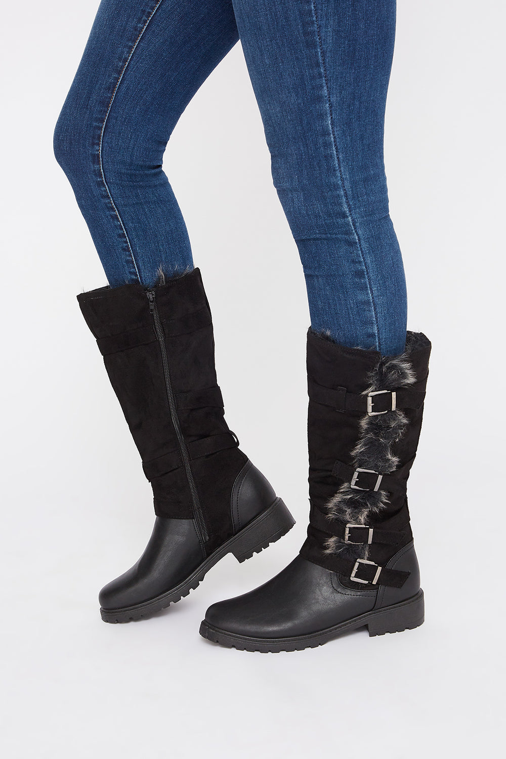 Buckle Faux-Fur Mid Calf Boot Black