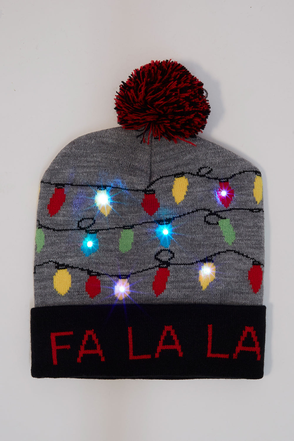 Light Up Christmas Pom Pom Beanie Heather Grey
