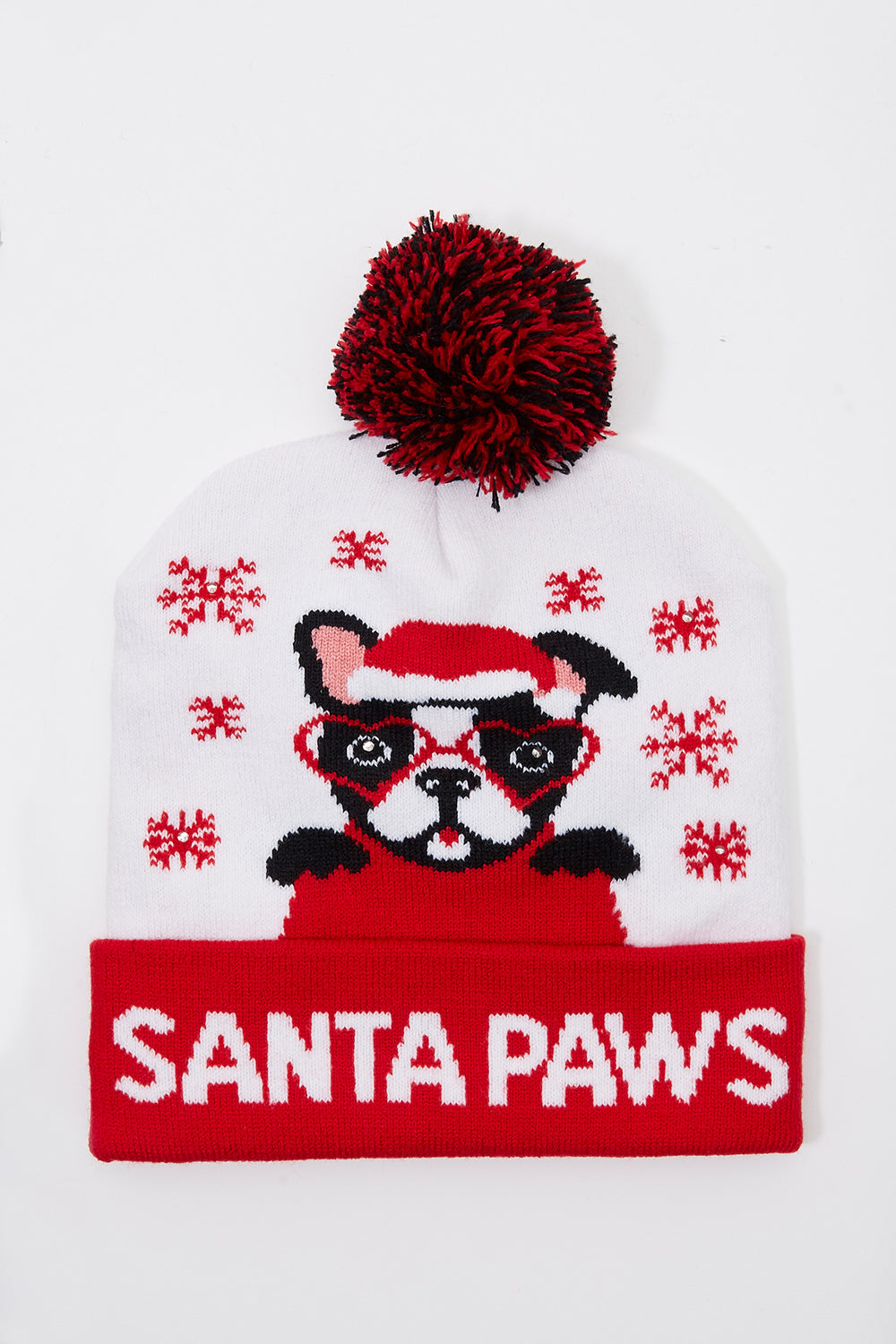 Light Up Christmas Pom Pom Beanie White