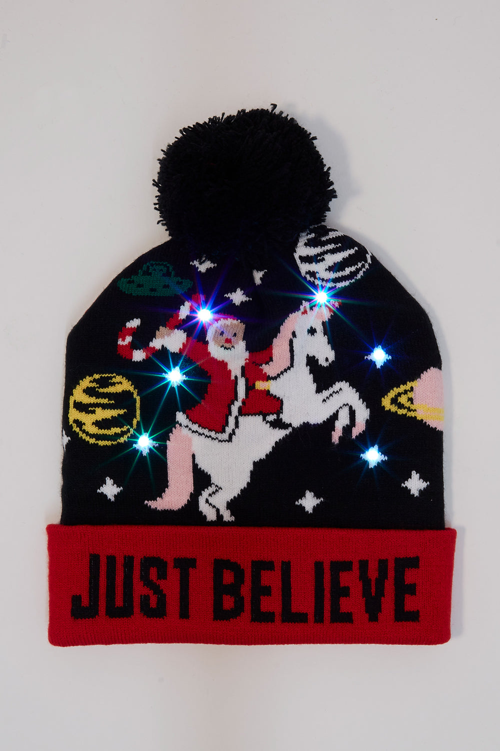 Light Up Christmas Pom Pom Beanie Multi