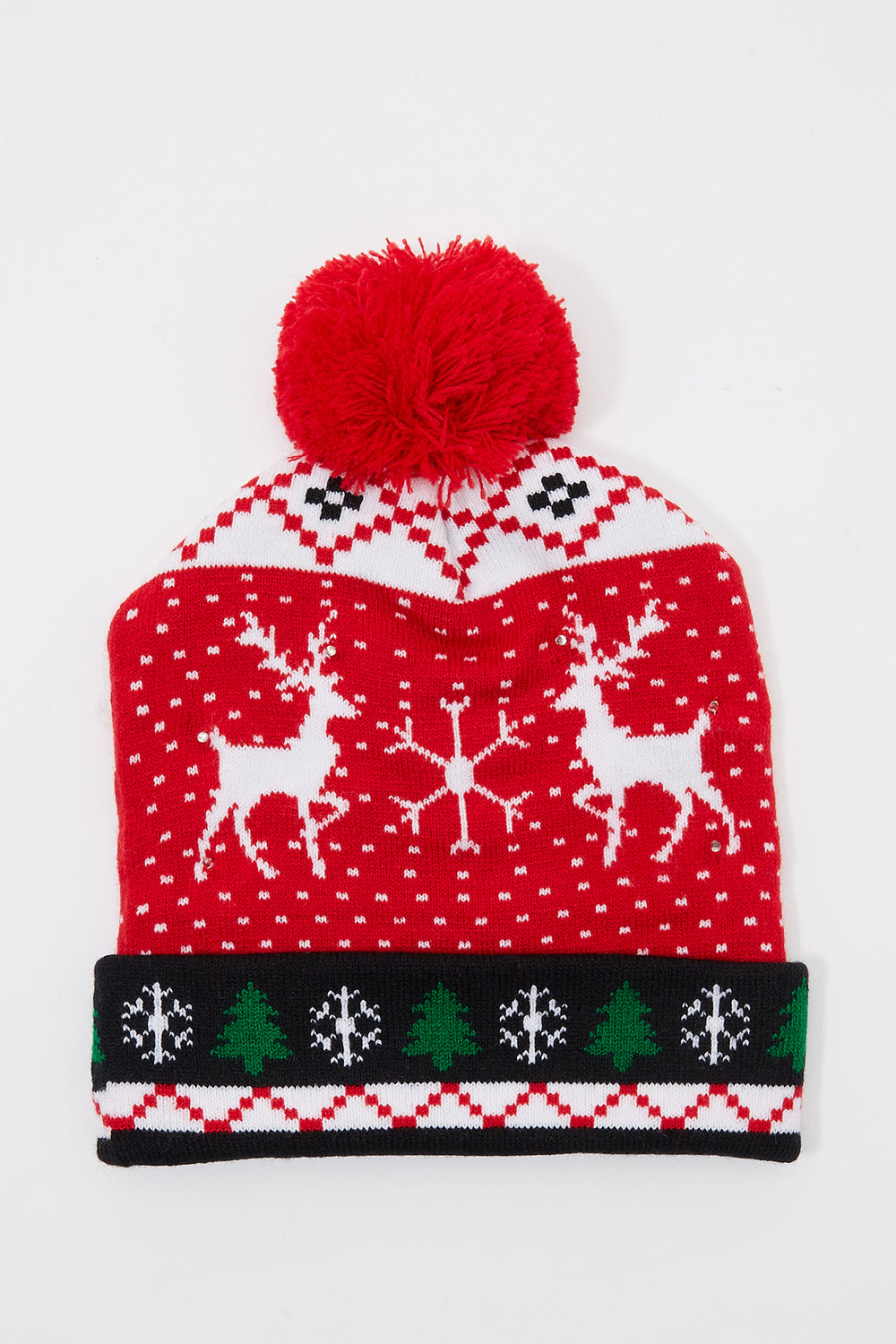 Light Up Christmas Pom Pom Beanie Red