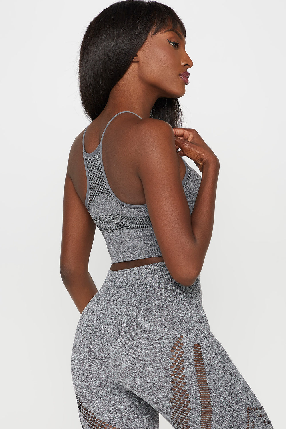 Mesh Racerback Seamless Active Bra Heather Grey