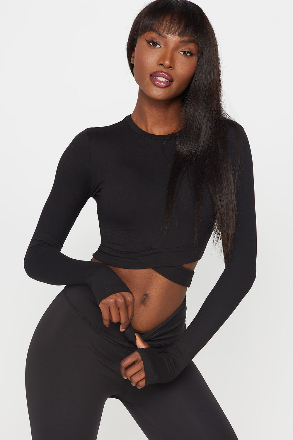 Soft Crisscross Cropped Active Long Sleeve Black