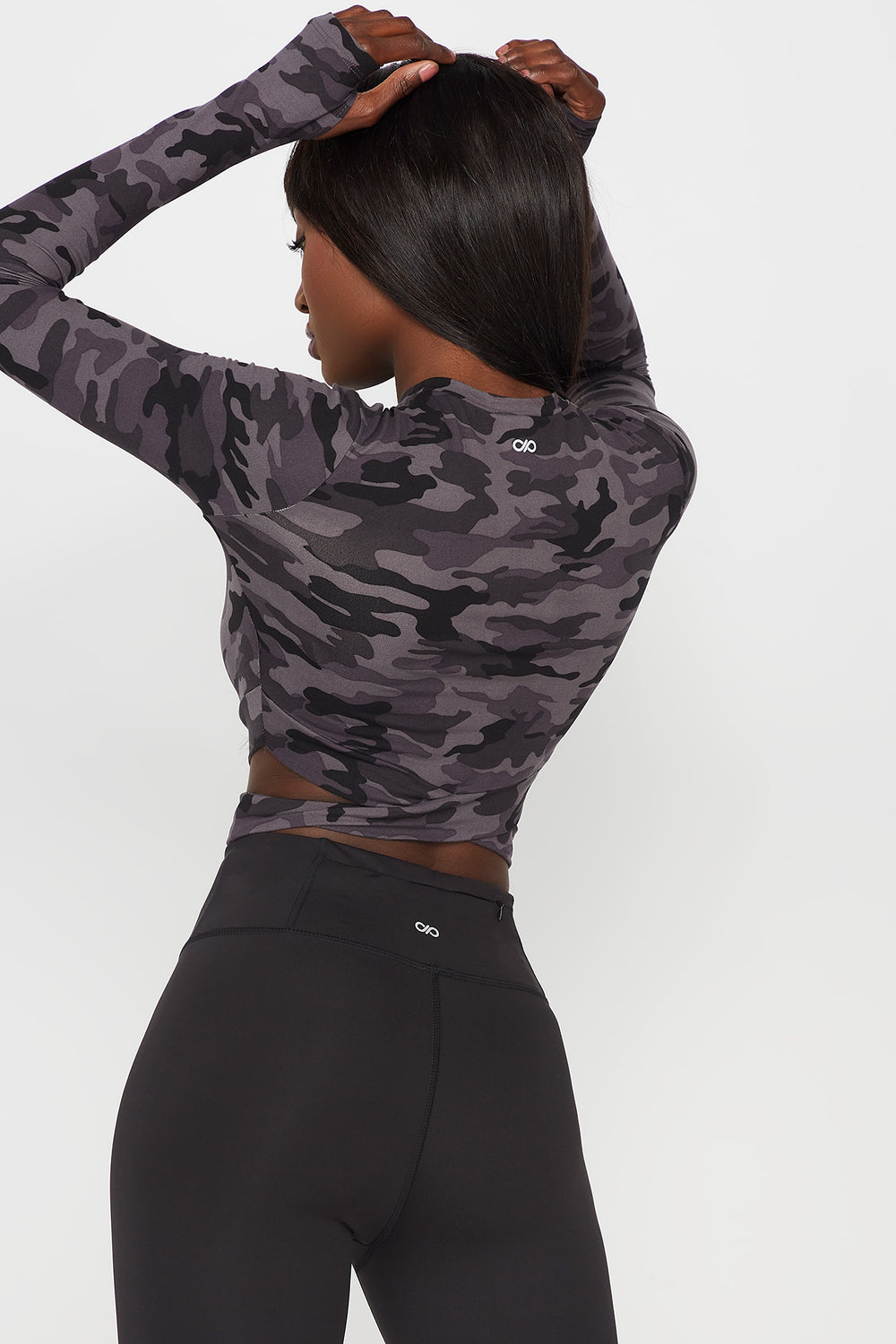 Soft Crisscross Cropped Active Long Sleeve Camouflage