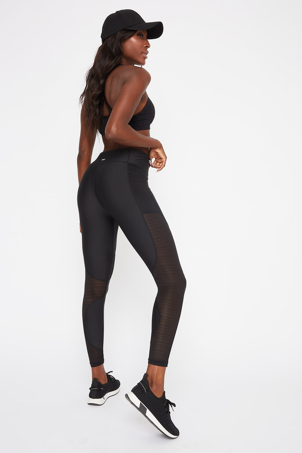 Infinite High-Rise Sheer Mesh Active Legging Black