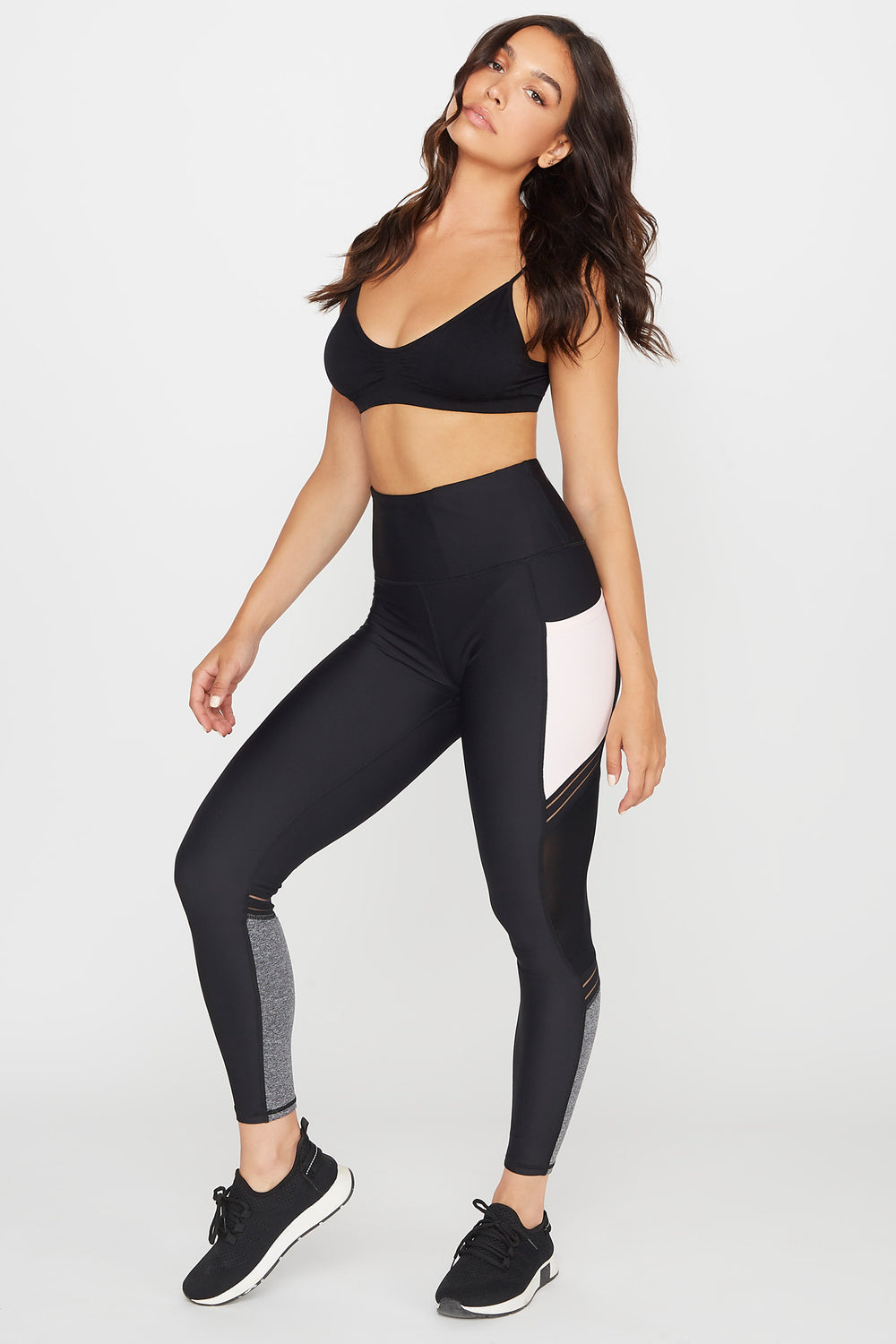 High-Rise Mesh Side Pocket Active Legging Black with White