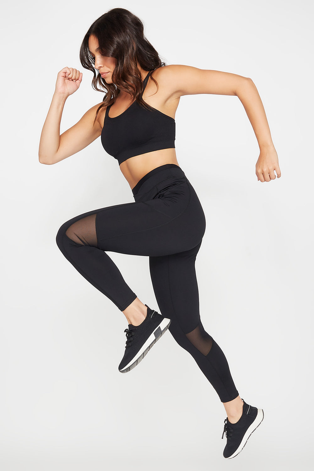 High-Rise Colour Block Mesh Side Pocket Active Legging Black