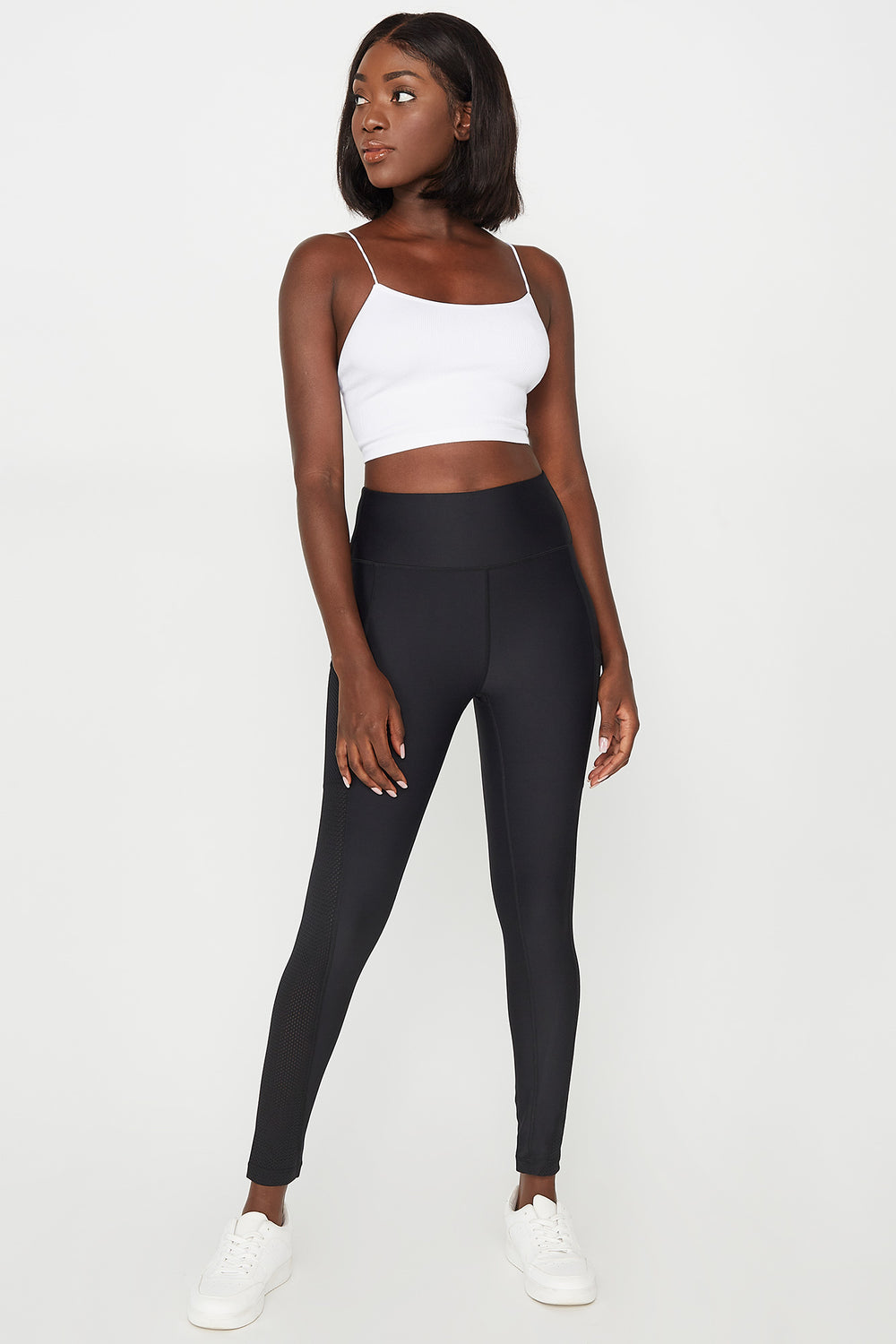 High-Rise Mesh Pocket Active Legging Black