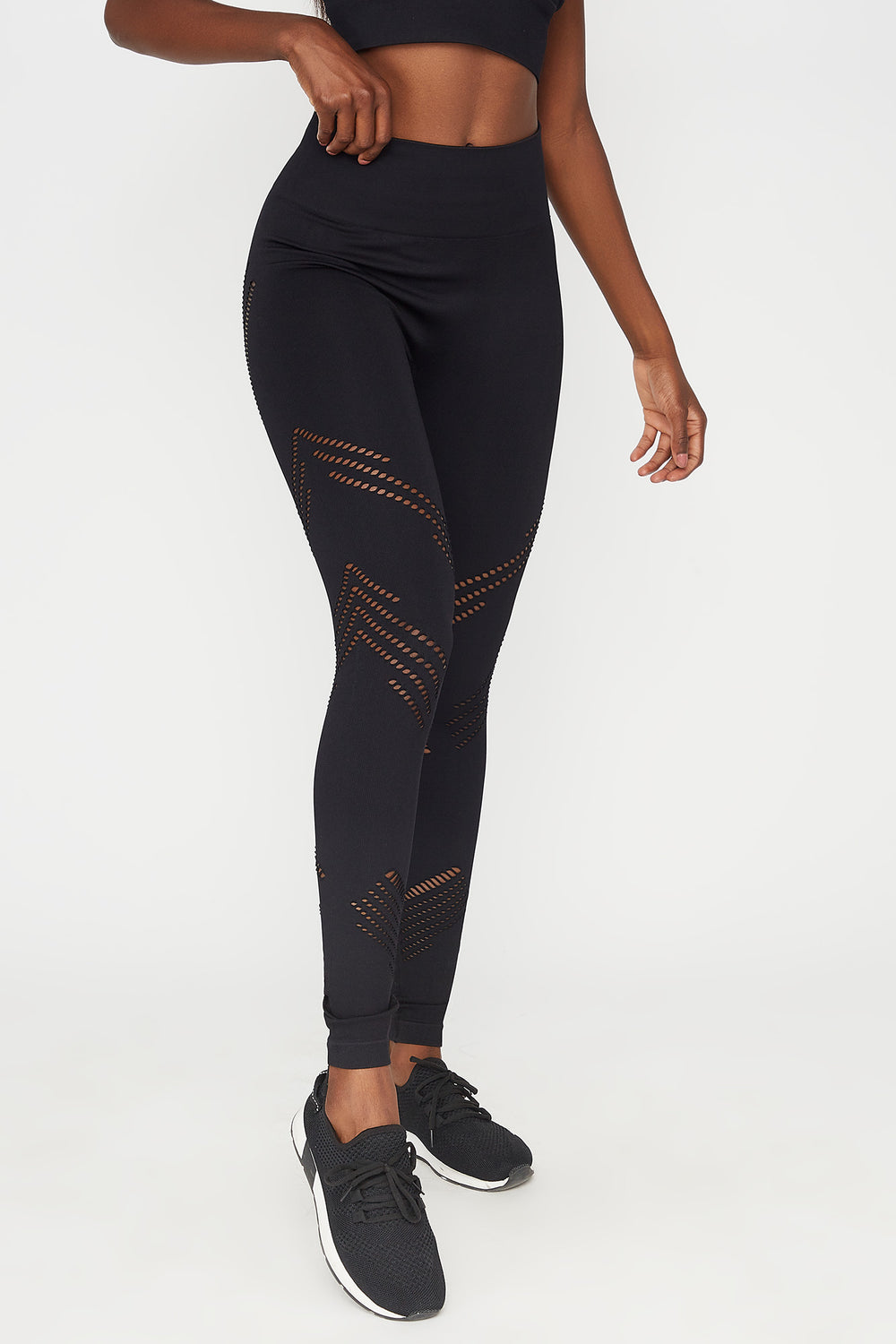 High-Rise Mesh Cut Out Seamless Active Legging Black