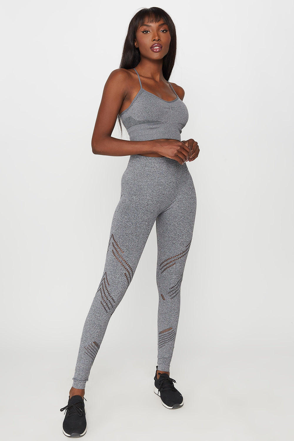 High-Rise Mesh Cut Out Seamless Active Legging Heather Grey