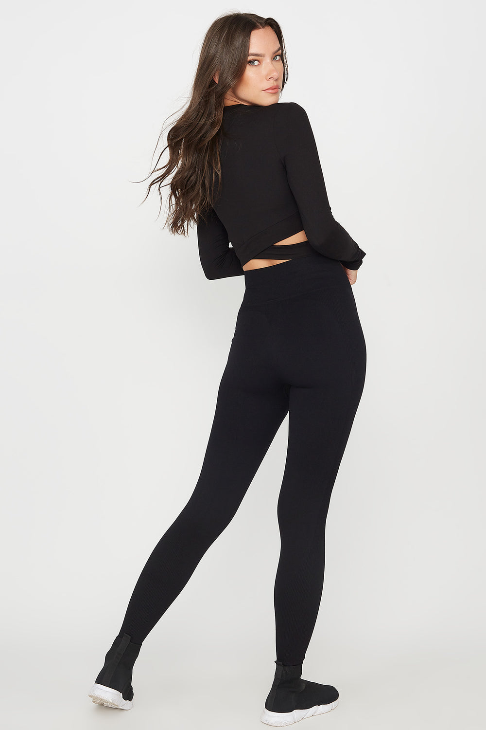 High-Rise Ribbed Active Legging Black