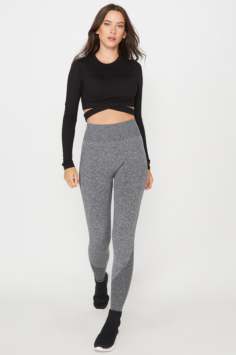 High-Rise Ribbed Active Legging Heather Grey