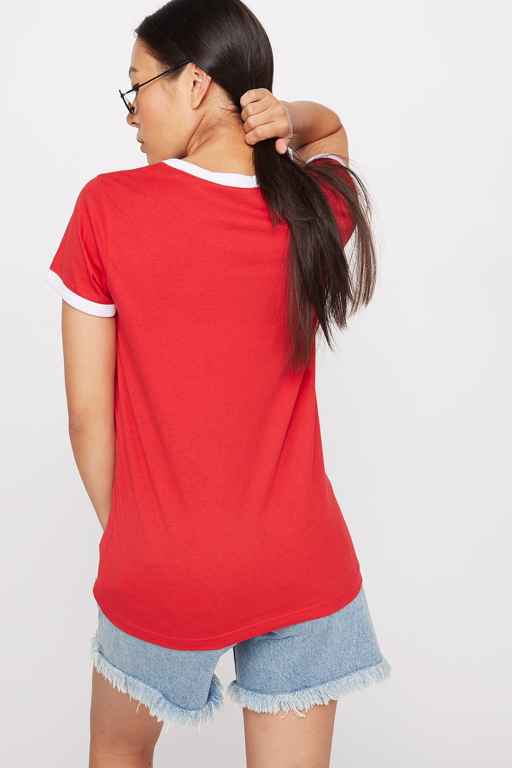 Graphic Ringer T-Shirt Red