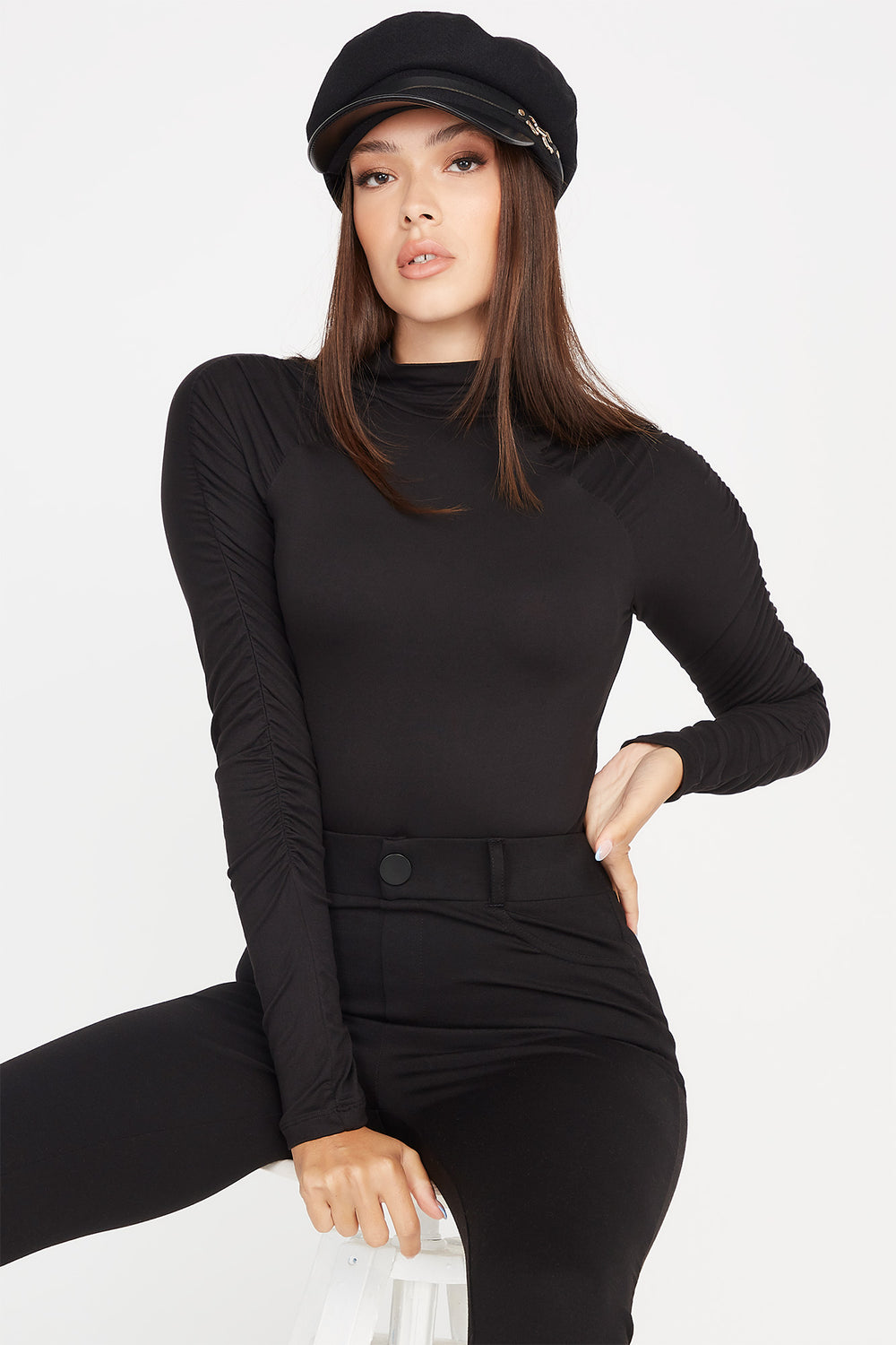 Soft Ruched Mock Neck Long Sleeve Bodysuit Black