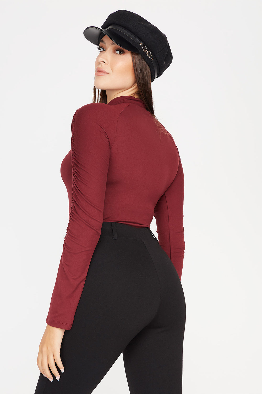 Soft Ruched Mock Neck Long Sleeve Bodysuit Burgundy